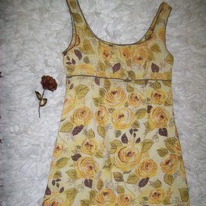 Yellow Rose Floral Summer Short Sleeve Dress
